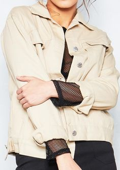 Connie Beige Boyfriend Denim Jacket