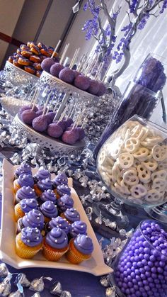Pandora Jewelry OFF! You can put anything at your dessert table: Cake pops donuts cupcakes mini cakes cookies or candies. Purple Dessert Tables, Purple Candy Buffet, Purple Desserts, Dessert Party, Buffet Dessert, Candy Buffet Tables, Food Buffet, Food Menu, Wedding Candy Buffet