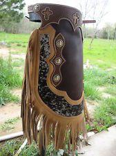 New Custom Western Hand Tooled basket weave Chinks Chaps brindle hair