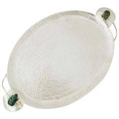 Emilia Castillo Silverplate Serving Tray Frog & Lily Pad Handles | From a unique collection of antique and modern serving pieces at https://www.1stdibs.com/furniture/dining-entertaining/serving-pieces/