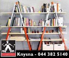 Need portable shelving? Use to ladders and board to quickly setup semi-industrial shelving that can be moved around and taken down as needed. #PennyPinchersKnysna #WeedkendWarrior