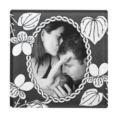 Black and White Flower. Perfect to put in photo of baby or a black and white family photo. http://www.zazzle.com/black_and_white_flower_glass_coaster-256094619547605273?rf=238805303691357912