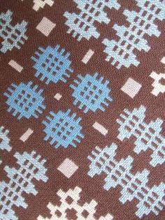 Chocolate & Denim Blue tapestry moses blanket BB49 - Baby blankets Vintage Welsh Blankets