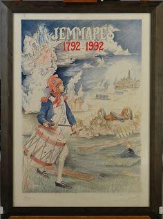 Estampe: Affiche - Jemmapes 1792 1992 - Litho -Le Lumecon Mons - Imagerie du Musée de la Vie Wallonne Liège No 2 Imp. Bénard Liège