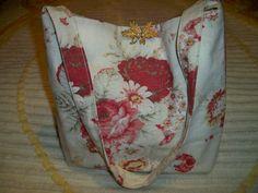 Vintage Handmade Waverly Norfolk Roses Tote Purse Brooch