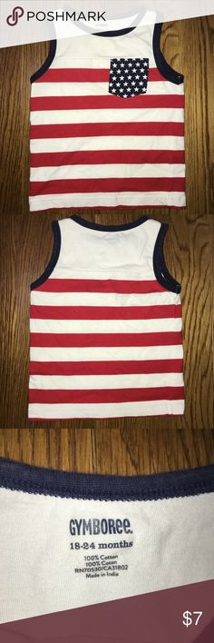 Gymboree Baby Boys 18-24m American Flag Tank Shirt Size 18-24 months  Gymboree Sleeveless Top  Red, white & blue - great for the Fourth of July! Gymboree Shirts & Tops Tank Tops
