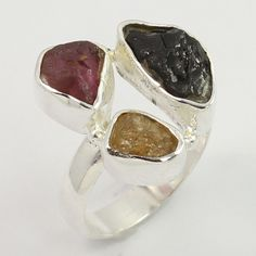 Real MULTI-COLOUR TOURMALINE Rough Gemstone 925 Sterling Silver Ring Size AU O #SunriseJewellers #Fashion