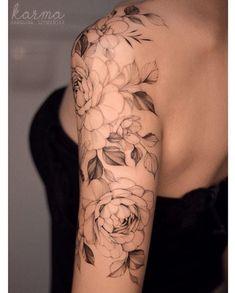 Feminine Tattoo Sleeves, Feminine Tattoos, Feminine Shoulder Tattoos, Line Tattoos, Body Art Tattoos, Tatoos, Tattoo Femeninos, Gray Tattoo, Tattoo Flash