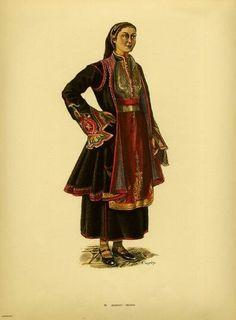 Traditional women's costumes from Southern Albania Ethnic Fashion, Punk Fashion, Lolita Fashion, Trendy Fashion, Vintage Fashion, Greek Traditional Dress, African Traditional Dresses, Traditional Outfits, Fashion Illustration Template