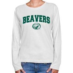 NCAA Bemidji State Beavers Ladies White Logo Arch Long Sleeve Classic Fit T-shirt  $24.95