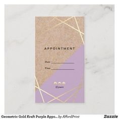 Modern Chic Geometric Pattern Kraft Printed Gold Purple w/ Social Media Appointment Vertical Business Card By AffordPrint Editable & Customizable! Vertical Business Cards, Purple Gold, Appointments, Paper Texture, Office Decor, Wedding Planner, Things To Come, Business Men, Social Media