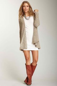 Oversized cardigan, dress, and boots fashion clothing..Love the combination of colours. And the flat wide calf boots. Gorgeous.