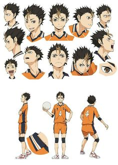 Nishinoya Yuu. Haikyuu. Character Design Sheet.