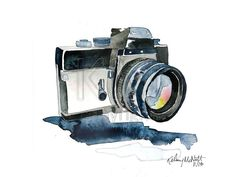 """canvaspaintings: """"Camera Lights - Watercolor Painting Print art piece, Photography home decor and wall art of camera by KelseyMDesigns (15.00 USD) http://ift.tt/1nhONbM """""""