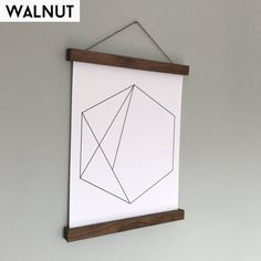 Solid Walnut/Maple Magnetic Poster Hanger by OakAndShieldHome