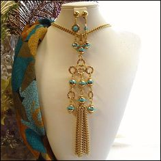 Gold Turquoise Vintage Tassel Necklace w Earrings 1960s Jewelry $85