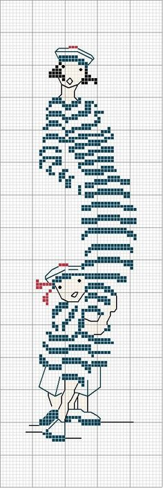 cross stitch french nautical summer mother daughter