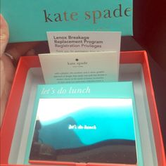 "Kate Spade business card holder Brand NEW in box ""let's do lunch"" wbusiness card holder!! Comes completely wrapped in protector paper. Comes with all boxes seen. I only opened to take this picture! kate spade Accessories"
