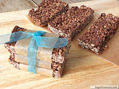 No Bake Chewy Cocoa Granola Bars {Refined Sugar, Gluten & Nut Free} | SugarFreeMom.com