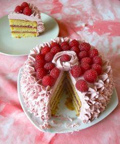 Lemon Cake with Raspberry Curd filling and Raspberry / Lemon Swiss Meringue Buttercream Frosting