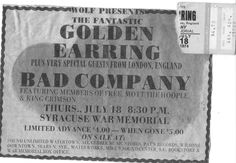 July 18 1974 Golden Earring and Bad Co.