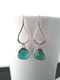 Silver Water Drop Emerald silver Earrings  Simple by LaLaCrystal, $24.50