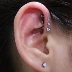 Simple Sweet Triple Forward Helix Ear Piercing Ideas For Teens Girls - Sw . - Simple Sweet Triple Forward Helix Ear Piercing Ideas for Teens Girls – Swarovski Studs for Ca - Ear Piercings Helix, Types Of Ear Piercings, Dermal Piercing, Tragus, Ears Piercing, Unique Ear Piercings, Helix Piercing Jewelry, Piercing Tattoo, Ear Jewelry