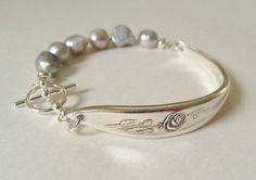Rose Spoon Bracelet Grey Silver Pearls spoon by GeorginaBaker, $40.00
