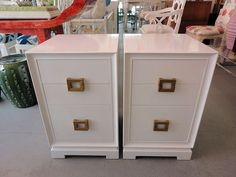 Pair of White Lacquered Nightstands for the Guests :)