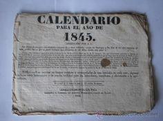 PAPEL ANTIGUO. CALENDARIO DE 1845. IMPRESO EN BARCELONA. LIBREIA ANTONIO BERDEGUER