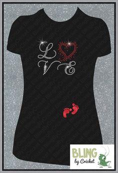 LOVE Maternity BLING Rhinestone Shirt with Glitter Footprints on Etsy, $28.14