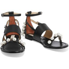 Emilio Pucci Faux pearl-embellished leather sandals (10 025 UAH) ❤ liked on Polyvore featuring shoes, sandals, monk-strap shoes, embellished leather sandals, square toe shoes, black shoes and black strap shoes