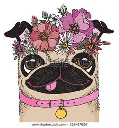 A quirky drawing of a #pug wearing a flower crown. Sketchy vector illustration.