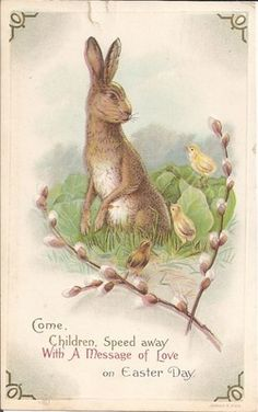 ๑ Nineteen Fourteen ๑ historical happenings, fashion, art & style from a century ago - 1914 Easter bunny postcard