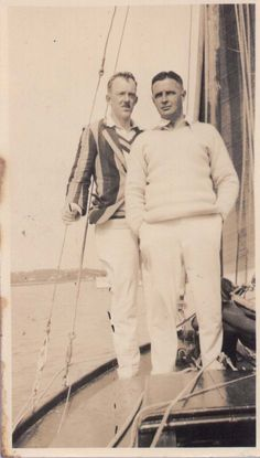 Arthur Chaytor Pepper (left) and John Rupert Wilson (right) on a yacht in the late 1920s. Pepper served as an officer in the Royal Flying Corps, was shot down and made a prisoner of war. Wilson served as an officer in the Royal Sussex regiment.  In 1932 he tragically committed suicide. It was believed that he never recovered from his experiences in the war.