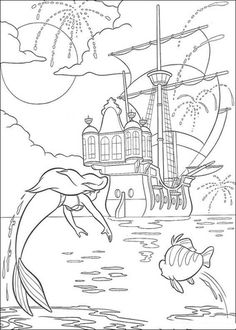 ariel and flounder are jumping together coloring page from the little mermaid category select from