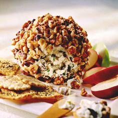Olive Cheese Ball This popular standby -- a combo of cream cheese, blue cheese, ripe olives, and walnuts -- is a terrific appetizer to serve at get-togethers any time of year.