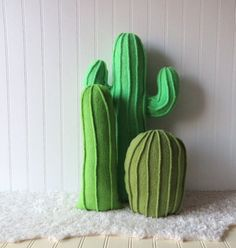 Cactus Garden, Cactus Pillows, Pillow Collection, Set of 3 Cactus Pillows, Plush…