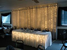 Lighted backdrop #wedding reception ... Wedding ideas for brides, grooms, parents & planners ... https://itunes.apple.com/us/app/the-gold-wedding-planner/id498112599?ls=1=8 … plus how to organise an entire wedding, without overspending ♥ The Gold Wedding Planner iPhone App ♥