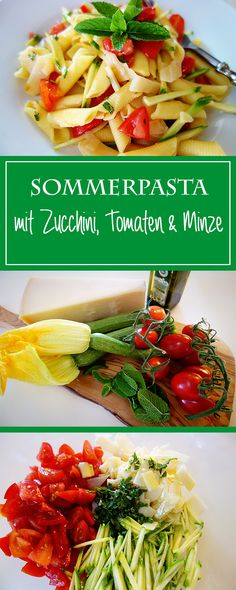 Pasta mit Zucchini, Tomate & Minze - das perfekte Rezept für den Sommer! Zudem einfach, glutenfrei, gesund & unglaublich lecker! 😎🍅🌞| cucina-con-amore.de