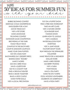 50 MORE Fun Summer Activities for Kids - Click the image for tons of ideas and links!