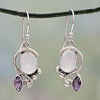 Rainbow moonstone and amethyst dangle earrings, 'Yours Forever'