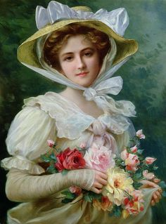 Elegant Lady With A Bouquet Of Roses Painting - Elegant Lady With A Bouquet Of Roses Fine Art Print