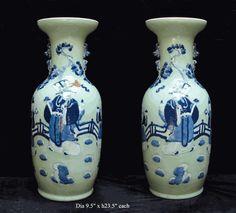 $980 Pair Chinese Celadon Porcelain 3 Gods Fortune Vases - Golden Lotus Antiques