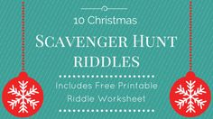 If you want to plan a fun Christmas scavenger hunt, here are 10 riddles you can use - also includes a free printable sheet of the riddles Christmas Present Riddles, Christmas Presents For Adults, Christmas Games, Christmas Activities, Gifts For Teens, Christmas Humor, Kids Christmas, Christmas Birthday, Christmas Crafts