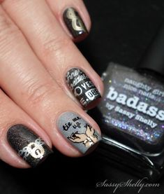 Fifty Shades of Grey inspired nail art with Bundle Monster & piCture pOlish Badass | Sassy Shelly. #nails #nailart #FiftyShades