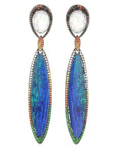 Wendy Yue Jade with Opal Long Drop Earrings