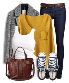 """""""Mustard, Navy and Mahogany"""" by wishlist123 ❤ liked on Polyvore featuring Naked & Famous, WOLL, Soaked in Luxury, Sole Society, Converse, Maison Boinet, greycoat and graycoat"""