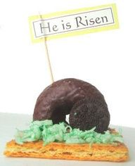 the empty tomb and stone rolled away. Can also use cinnamon powdered donut and a nilla wafer... perfect bible study lesson and interaction w children about the story of easter