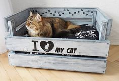 Cama madera, cama del animal doméstico, casa del animal doméstico, casa del gato, gato caja de gato